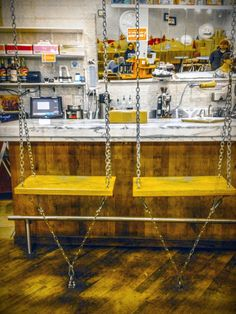 ctrltgroup:  Metal Chainlink and wood plank bar seating at Molly's Cupcakes in Lakeview, Illinois