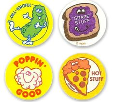scratch and sniff stickers I can still remember the smell of the pickle one, ew