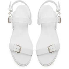 Zara Flat Sandal With Buckle (700 THB) ❤ liked on Polyvore featuring shoes, sandals, flats, white, zara, flat heel shoes, zara sandals, buckle shoes, white flat sandals and zara shoes