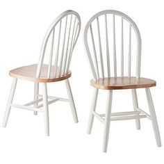 Winsome Wood Windsor Chair in Natural and White Finish Set of 2 * See this great product. #Wooden