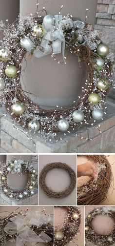 DIY Winter Wonderland Wreath for Christmas. Try dressing up your entryway or fro… DIY Winter Wonderland Wreath for Christmas. Try dressing up your entryway or front yard with this DIY awesome and elegant winter wreath in silver and gold! Noel Christmas, Winter Christmas, Christmas Ornaments, Diy Christmas Decorations, Christmas 2017, Decorating For Christmas, Christmas Decorations Diy Crafts, Winter Wonderland Decorations, Elegant Christmas Decor
