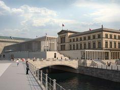 wazzup2!Simulation: James-Simon-Galerie und Neues Museum; Blick von Süden über Kupfergraben und Eiserne Brücke