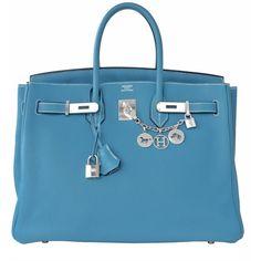 FLASH SALE! Hermes Blue Jean 35cm Birkin Leather Palladium Bag Summer (329,420 THB) ❤ liked on Polyvore featuring bags, handbags, hermes, leather purses, blue leather purse, hermes purse, genuine leather purse and leather top handle bag