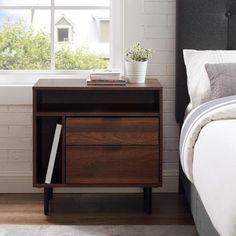 Modern and Shelf Dark Walnut Nightstand - The Home Depot Brown Nightstands, Wood Nightstand, Table Lamps For Bedroom, Bedroom Decor, Bedroom Ideas, Master Bedroom, Minimalist Nightstand, Mid Century Bed, Dresser