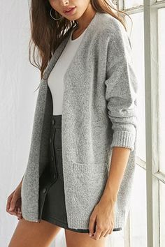 Product Name:Brushed Open-Front Cardigan, Category:sweater, Bodycon Midi Skirt, Pleated Mini Skirt, Forever 21 Cardigans, Crop Top Shirts, Crop Tops, Knit Leggings, Striped Crop Top, Sweater Shop, Ribbed Sweater