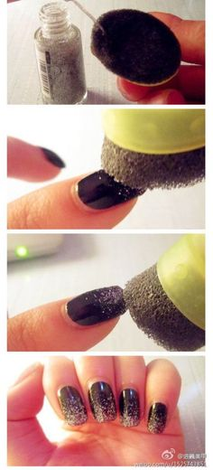 Get a gradient effect by dabbing glitter nail polish onto a porous sponge. 32 Easy Nail Art Hacks For The Perfect Manicure Love Nails, How To Do Nails, Pretty Nails, How To Ombre Nails, How To Nail Art, Nail Art Hacks, Nail Art Diy, Nail Polish Hacks, Fantastic Nails