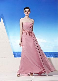 In Stock Elegant A-line Strapless Neckline Beaded Pleated Long Party Gown Prom Dresses