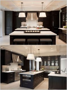 Double Island Kitchen, love the symmetry. Darker than I prefer but love the over. This amazing photo collections about Double Island Kitchen, love the Modern Kitchen Design, Interior Design Kitchen, Kitchen Designs, Kitchen Contemporary, Interior Door, Diy Interior, Contemporary Decor, Luxury Kitchens, Cool Kitchens