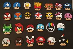 Mario mushrooms in all its forms in hama beads perler beads