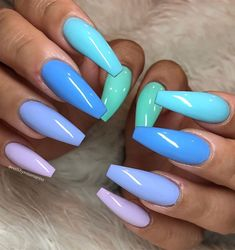 40 Pretty Multicolored Nail Art Designs For Spring and Summer 2019 rainbow nails colorful nail art design French manicure Multicolored Nail Art Designs Cute Summer Nail Designs, Cute Summer Nails, Cute Acrylic Nail Designs, Nail Summer, Unique Nail Designs, Bright Nails For Summer, Almond Nails Designs Summer, Summer Holiday Nails, Tropical Nail Designs