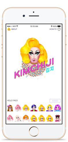 Get ready to take your texting to the next level with Kimchiji, the very  first drag queen emoji sticker app brought to you by your favorite glam  queen, Kim Chi. Kimchiji can be found on the App Store and iMessage App  Store to add a dose of flirty fun to any text message. Download the app for  Kim Chi approved stickers that are equal parts cute, colorful and eccentric  for text messages that will come to life in Kimchiji fashion.