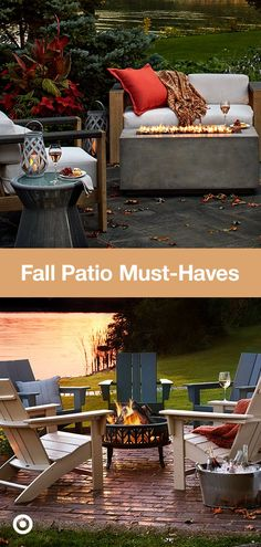 Get cozy around a fire pit & welcome cooler weather with fall decor ideas for yo. Get cozy around a fire pit & welcome cooler weather with fall decor ideas for your backyard or patio. Casa Patio, Backyard Patio, Backyard Landscaping, Backyard Retreat, Outdoor Rooms, Outdoor Living, Outdoor Furniture Sets, Outdoor Decor, Backyard Playground