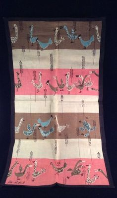 Vintage Signed Tea Towel by Pat Prichard - New and Unused - Pink/Black/Aqua