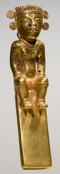 Colombia Quimbaya Shaman Figure Pendant in Gold. This and more important tribal art for sale on CuratorsEye.com