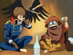 younger Captain Harlock and Tochiro drinking. Movie Captions, Space Pirate Captain Harlock, Captain My Captain, Galaxy Express, Art Manga, Anime Love, Retro, Pirates, Old Things