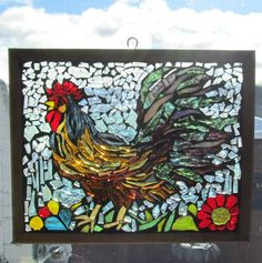 Rooster Stained Glass Mosaic ROOSTER  Wall Art