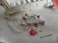 A Beautiful Red, Crystal,and Cream Love Watch Charm Necklace | jnldesigns - Jewelry on ArtFire