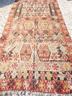 Christmas SALE Bohemian Vintage Kilim Rug Colorful Hand woven Turkish Kilim Carpet Rustic Boho Home Decor FREE SHIPPING