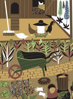 The wisdom for hen keepers. Garden Illustration, Graphic Illustration, Kitchen Prints, Arts Award, Wood Engraving, Garden Art, Folk Art, Screen Printing, Grandmas Garden