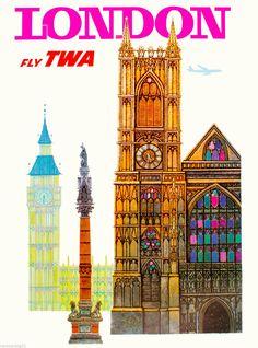 London Big Ben by air England Great Britain Vintage Travel Advertisement Art Poster