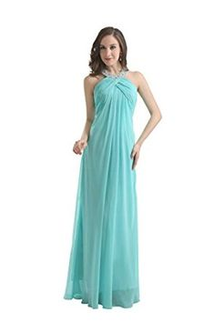 Angelia Bridal Women's Halter Beading Bridesmaids Dress Empire Waist Prom Gown…