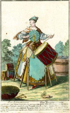 Parchementiere - pergamenterin - parchment maker dressed in fans and frames Martin Engelbrecht,1730-50