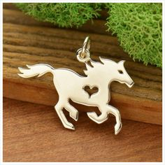Horse Charm Necklace / 925 Sterling Silver Heart Equestrian Pendant / Silhouette Horseback Riding Ve Equestrian Jewelry, Horse Jewelry, Horse Gifts, Gifts For Horse Lovers, Horse Necklace, Silver Horse, Cowboy And Cowgirl, Handmade Shop, Handmade Gifts