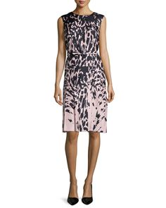J. Mendel Sleeveless Feline-Print Dress, Kitten Pink/Noir, Women's, Size: 6