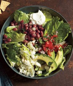 Bursting with beans, cheese, avocado, and salsa, this hearty main-course salad is a fun dinnertime option. Get the recipe for Taco Salad With Pinto Beans and Avocado.