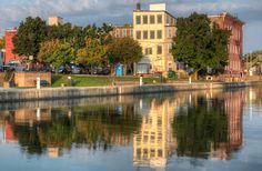 The Back of Brockport Reflected in the Erie Canal