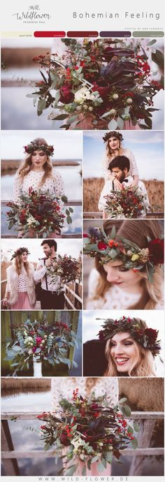 Our color palette for a boho wedding. Colors: pearl white, bordeaux, marsala, plum, olive green. Flowers by Wildflower - Friederike Paul and all pictures by Ana Fernweh