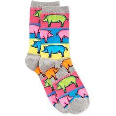Hot Sox Women's Pop Pigs Socks ($6) ❤ liked on Polyvore featuring intimates, hosiery, socks, sweatshirt grey heather, multi colored socks, multicolor socks, hot sox, colorful socks and hot sox socks