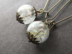 Boucles d'oreilles de graines de pissenlit, verre soufflé, Globes en verre, Orb, éco, Eco boucles d'oreilles à la main