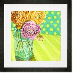 "GreenBox Art 'Ball Jar Ranunculus Blooms' by Paula Prass Framed Painting Print on Paper Size: 14"" H x 14"" W x 0.5"" D, Frame Color: Black"