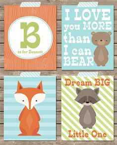 "Set of Four 8x10"" Woodland Nursery Prints | Love a Rhino | madeit.com.au"