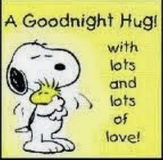 Good Night Hug With Lots and Lots of Love - Snoopy Hugging Woodstock Good Night Hug, Good Night Sweet Dreams, Good Night Quotes, Night Night, Charlie Brown Quotes, Charlie Brown And Snoopy, Snoopy Love, Snoopy And Woodstock, Snoopy Hug