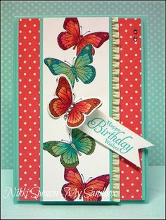 handmade card ... column of red and green butterflies ... masking to overlap butterflies ... like the coloring ... Stampin' Up!