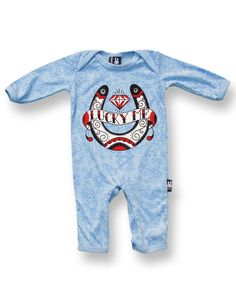 Six Bunnies LUCKY ME blue Baby Playsuit