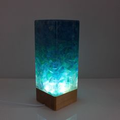 Art night light Repurposed resin lamp Unique led lamp Resin led light Ambient table lamp Wooden night light READY TO SHIP Wooden Gift Boxes, Wooden Gifts, Unique Night Lights, Wood Resin, Resin Art, October Birth Stone, Easy Gifts, My New Room, Resin Crafts
