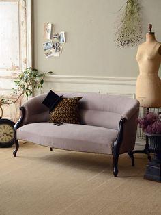 アンティーク 家具 椅子 チェア ナーシングチェア ナポレオン3世 ブラック インテリア 部屋 ストライプ フレンチ フランス ソファ 紫 パープル antique french chair interior furniture room Napoleon III coordinate sofa