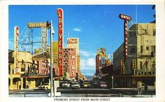 1957 Fremont Street from Main Street  Note the name of the hotel at the right SAL SAGEV... Las Vegas backwards