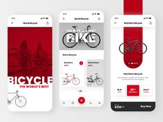 Bike Shop designed by Emre Seçer. Connect with them on Dribbble; App Ui Design, Mobile App Design, Bicycle Store, App Home, Retro Bicycle, Mobile App Ui, Shop Layout, Bike Design, Interactive Design