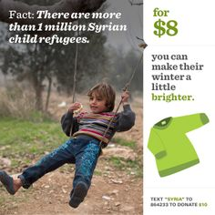 Fact: There are more than 1 million Syrian child refugees.  Winter Clothes Campaign for #ChildrenofSyria
