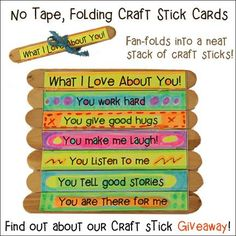 Father's Day Card Craft for Children - Encourage your children to use their creativity to make Father's Day cards for Dad! This cheap and easy craft is great for preschool children through grade school. Go to daniellesplace.com to see a supply list, complete directions, and information about how you could  win crafts sticks and Marvy markers to make this craft.
