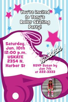 Roller Skate Skating Girl Birthday Invitations  -  Get these invitations RIGHT NOW. Design yourself online, download and print IMMEDIATELY! Or choose my printing services. No software download is required. Free to try!