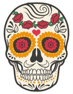 'skull rose' Sticker by Fabien photofab. Sugar Skull Halloween, Sugar Skull Costume, Sugar Skull Makeup, Sugar Skull Art, Sugar Skulls, Halloween Makeup, Halloween Costumes, Halloween Halloween, Candy Skulls