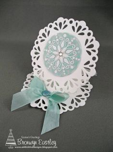 Doily Easel Card by BronJ - Cards and Paper Crafts at Splitcoaststampers
