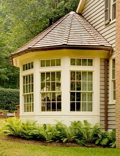 Exterior Ranch Home Bay Window Addition Dining Room