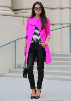 Women's Hot Pink Coat, White and Black Horizontal Striped V-neck Sweater, Black Leather Skinny Pants, Black Leather Pumps