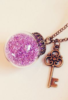 Delicate Glass Globe Necklace with Violet